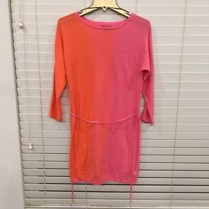 Light sweater dress w/tie pink fades to orange